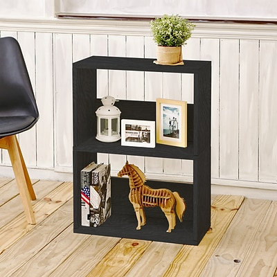 Way Basics Duplex 2 Shelf Bookcase Black