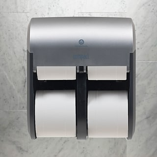 "Compact® 4-Roll Quad Coreless Toilet Paper Dispenser by GP PRO, Faux Stainless, 11.750""W x 6.900""D x"
