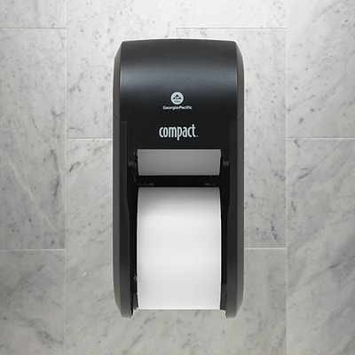 Compact® 2-Roll Vertical Coreless Toilet Paper Dispenser by GP PRO, Black (56790A)
