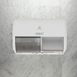 "Compact® 2-Roll Side-by-Side Coreless Toilet Paper Dispenser by GP PRO, White, 10.120"" W x 6.750"" D"