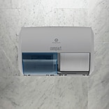 GP Compact® Gray Side-By-Side Double Roll Toilet Paper Dispenser, 10.120W x 6.750D x 7.120H