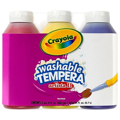 Crayola Artista II Washable Tempera Paint, Primary Colors, 8 oz., Pack of 3 Bottles (BIN543181)