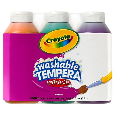Crayola Artista II Washable Tempera Paint, Secondary Colors, 8 oz., Pack of 3 Bottles (BIN543182)