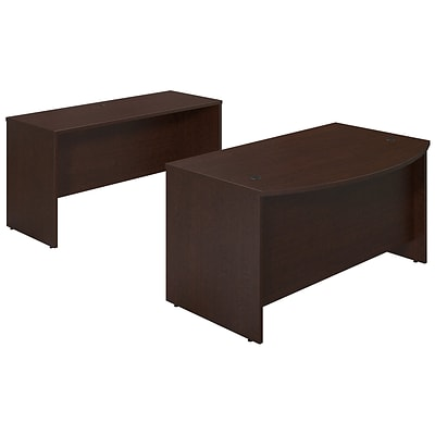 Bush Business Westfield Elite 60W x 36D Bowfront Desk Shell with Credenza, Mocha Cherry