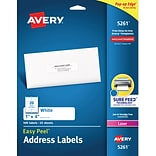 Avery® 5261 White Laser Address Labels, 1 x 4, 500/Box
