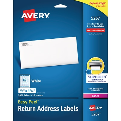 Avery® 5267 White Laser Return Address Labels with Easy Peel®, 1/2 x 1-3/4, 2,000/Box (5267)