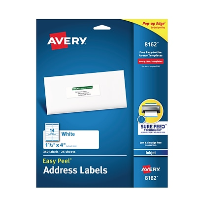Avery® 8162 White Inkjet Address Labels with Easy Peel®, 1-1/3 x 4, 350/Box