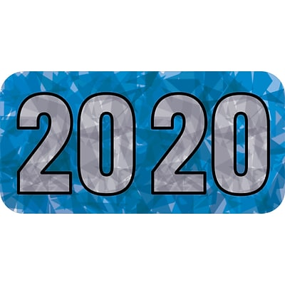 Medical Arts Press® Holographic End-Tab Year Labels, 2020, Blue