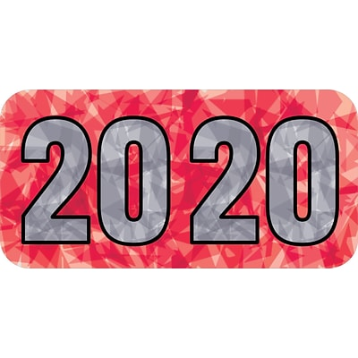 Medical Arts Press® Holographic End-Tab Year Labels, 2020, Red