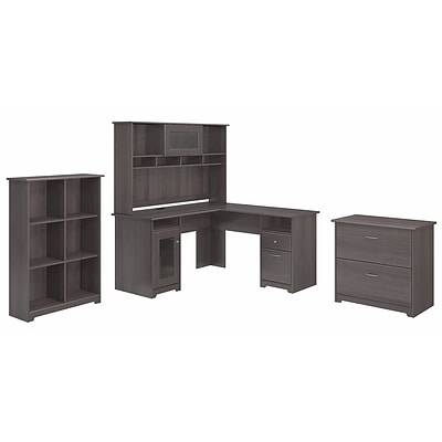 Bush Furniture Cabot L Shaped Desk with Hutch, 6 Cube Organizer and Lateral File Cabinet, Heather Gray (CAB003HRG)