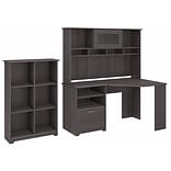 Bush Furniture Cabot Corner Desk with Hutch and 6 Cube Organizer, Heather Gray (CAB006HRG)