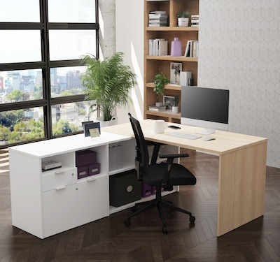 Bestar I3 Plus L Desk With Two Drawers In Northern Maple And White (160850 3817)