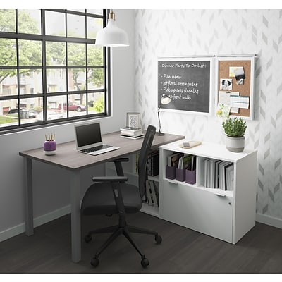 Bestar I3 Plus L-Desk with One File Drawer in Bark Gray & White (160852-4717)