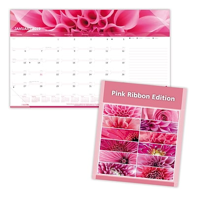 2019 Brownline® Pink Ribbon, Breast Cancer Awareness 12-Month Monthly Desk Pad Calendar, 17-3/4 x 10-7/8 (C1822PNK-19)