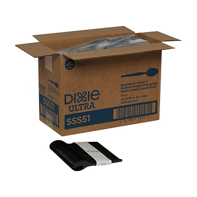 Dixie® Ultra® SmartStock® Series-O Medium-Weight Polystyrene Plastic Spoons Refill Black, 960/Carton (SSS51)
