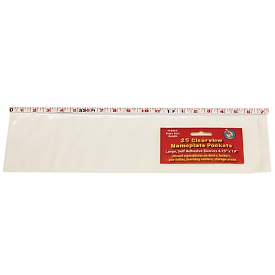 Ashley® Clear Self-Adhesive Large Name Plate Pocket, 4-3/4(H) x 19(W) (ASH10403)