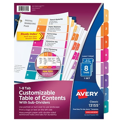 Avery® Ready Index® Table of Contents Dividers with Sub-Dividing Tabs, 1-8 Tab, Multicolor, 8 1/2 x 11, 1/ST