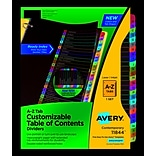 Avery Ready Index Table Of Contents Dividers, Multicolor Tabs, A-Z, Letter