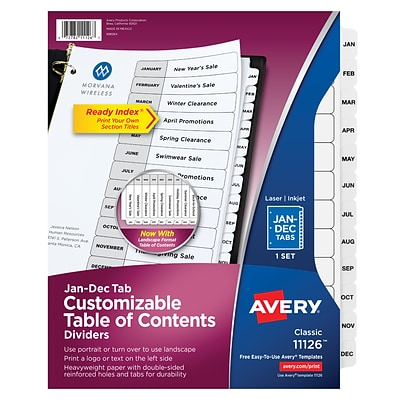 Avery® Ready Index® Table of Contents Dividers, Jan-Dec Tab, White, 8 1/2 x 11, 1/St