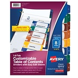 Avery Customizable Table of Contents Dividers, Ready Index Easy Edit Sleeve, Preprinted 1-8 Multicol