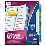 Avery® Ready Index® Double Column Indexes, 32-Tab