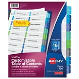 Avery® Ready Index® Double Column Dividers, 16-Tab
