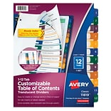 Avery® Ready Index® Plastic Table of Contents Monthly Dividers, 1-12 Tab, Multicolor, 8 1/2 x 11,