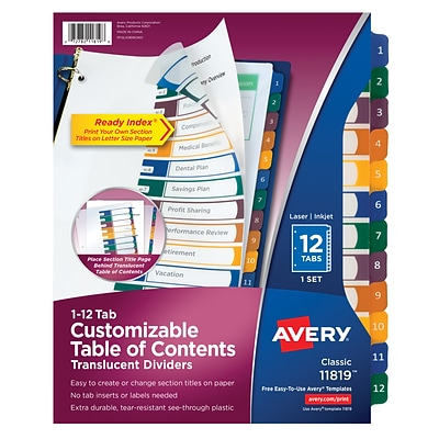 Avery® Ready Index® Plastic Table of Contents Monthly Dividers, 1-12 Tab, Multicolor, 8 1/2 x 11, 1/St