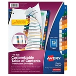 Avery® Ready Index® Plastic Table of Contents Dividers, 1-15 Tab, Multicolor, 8 1/2 x 11, 1/St