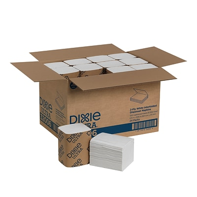 Dixie Ultra® Interfold 2-Ply Napkin Dispenser Refill by GP PRO, White, 250 Napkins Per Pack, 24 Packs Per Carton (32006)