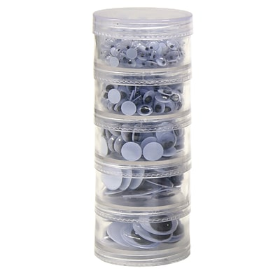 Creativity Street Stacking Jar Wiggle Eyes, Assorted Sizes, Black, 560 ct. (CK-3407)