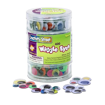 Chenille Kraft Stacking Jar Wiggle Eyes; 400 Piece(s), 0.28, 0.39, 0.47, 0.59, 0.79, Assorted