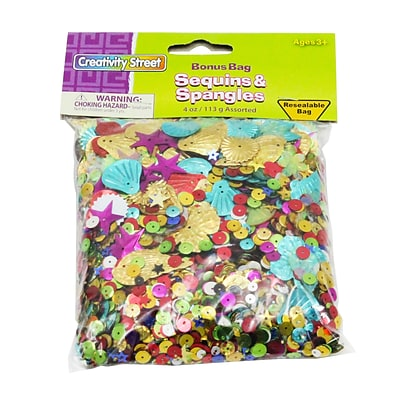 Creativity Street Sequins & Spangles, Assorted Colors & Sizes, 4 oz. (CK-6114)