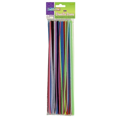 Creativity Street® Chenille Stems, Assorted Colors, 100 per pack, 12/BD (CK-711201BN)