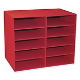Pacon Classroom Keepers 10-Shelf Organizer, Red (PAC001314)
