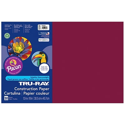 Pacon® Tru-Ray® Sulphite Construction Paper, Burgundy, 12(W) x 18(L), 50 Sheets