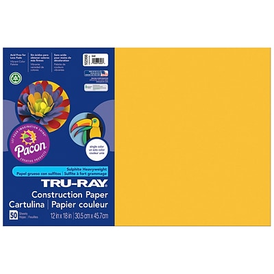 Pacon Tru-Ray Construction Paper 18 x 12, Gold, 50 Sheets (PAC102998)