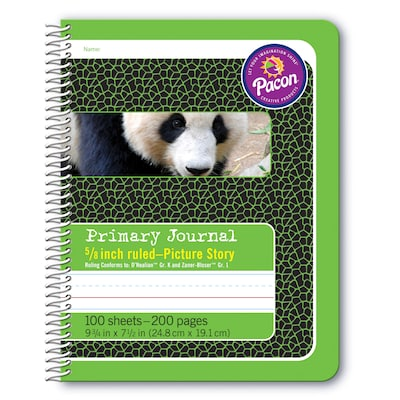 "Pacon Spiral Bound Composition Book Hardcover Journal, 9.75"" x 7.5"", Green Panda (PAC2434)"