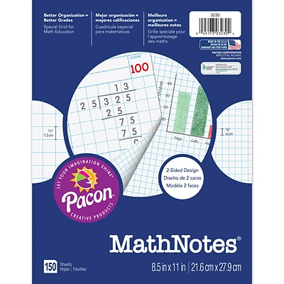 "MathNotes® Graph Paper, 8 ½""x 11"", White, 150 Sheets"