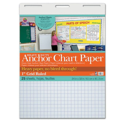 "Pacon® Heavy Duty Anchor Chart Paper, 24"" x 32"", White, 1"" Grid Rule, 25 sheets/pad (PAC3373)"