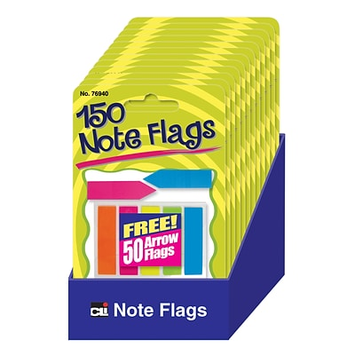 Charles Leonard, Note Flags Pack of 30 in 5 Colors, Bundle of 12, Total of 2400 (CHL76940ST)