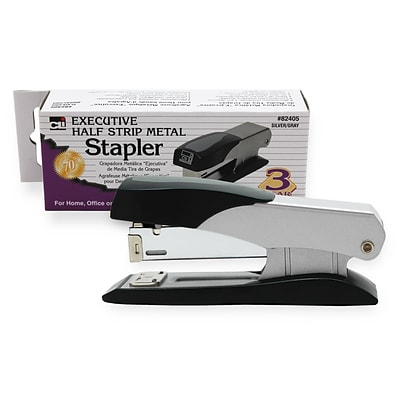 Charles Leonard® Half Strip Desktop Stapler, Silver/Gray, 1/Pack
