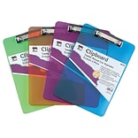 Charles Leonard Plastic Letter Size Clipboard, Assorted Colors , 4/Bundle (CHL89770)