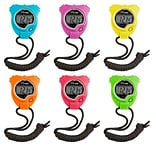Champion Sports Stop Watch, Neon Colors, 6/Pack (CHS910NSET)