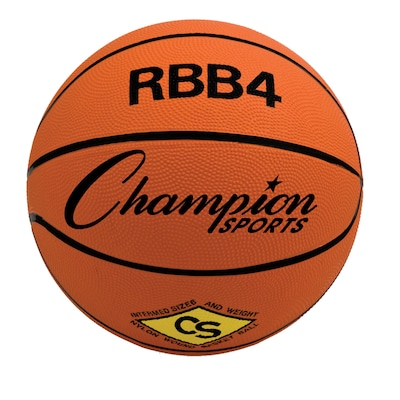 Champion Sports Intermediate Rubber Basketball, Orange, Each (CHSRBB4)