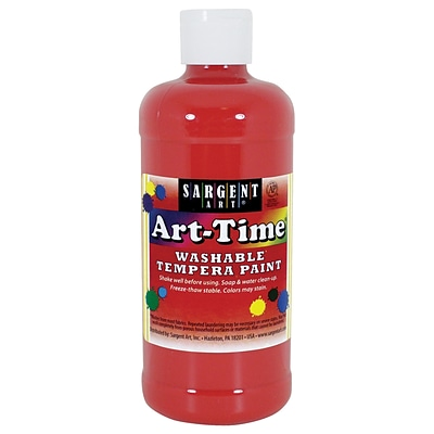 Sargent Art Art-Time Non-Toxic Washable Tempera Paint, 16 oz., Red (SAR223420)