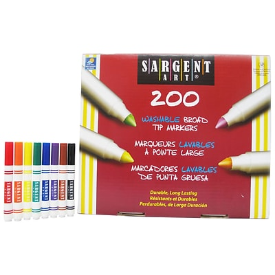 Sargent Art Washable Marker, Broad Tip, 8 Assorted Colors, Pack of 200 (SAR221525)