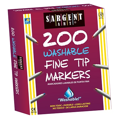 Sargent Art® Washable Fine Tip Markers, Pack of 200 (SAR221526)