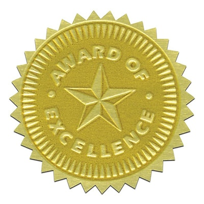 Flipside Gold Foil Embossed Seal; Award of Excellence, 54/Pack