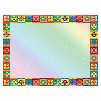 Hayes Multicolored Border 8.5 x 11 Certificate Paper, 50/Pack (H-VA652)